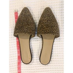 Topshop Pointed Toe Flat Mules, Leopard Print